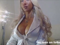 Large booby blonde gives head