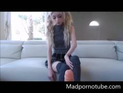 Amateur teen girl masturbates at home