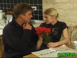 Skinny blonde teen and her horny boyfriend went to visit their doctor, to have lots of fun