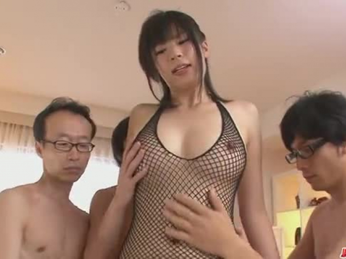trio folks get a japanese chick fellate job from saki aoyama