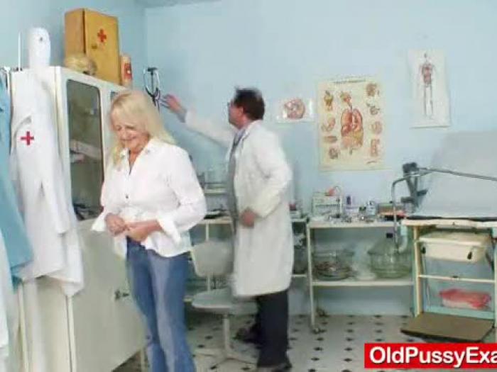 light-haired granny dorota geriatric gyno checkup