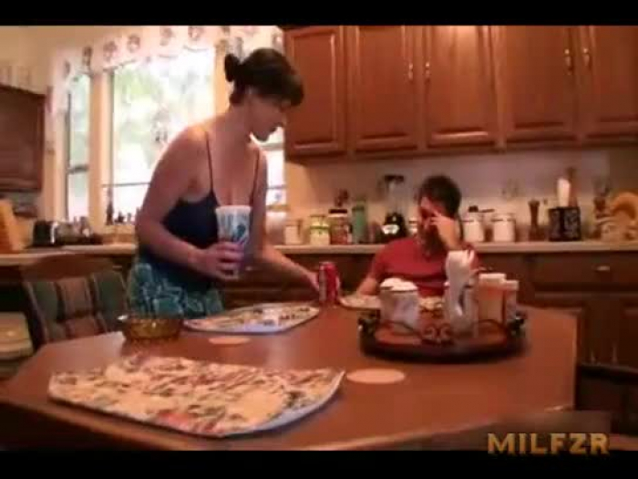 mom helps son with a large problem